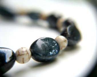 White Howlite and Blue Kyanite Bracelet for Balance and Meditation