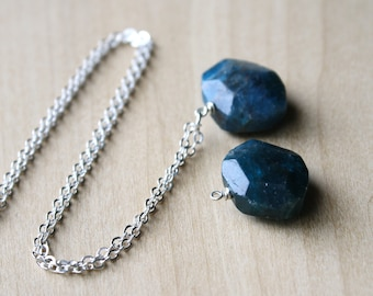 Blue Apatite Necklace in Sterling Silver for Motivation and Independence