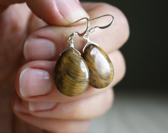 Tigers Eye Earrings for Balance and Meditation NEW