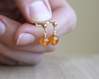 Natural Carnelian Studs for Courage and Willpower NEW
