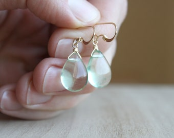 Green Fluorite Earrings in 14k Gold Fill for Grounding and Integrating