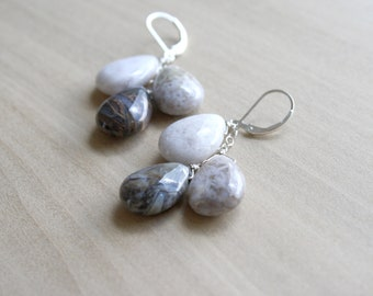 Natural Agate Earrings on Sterling Silver Lever Backs for Stability and Courage