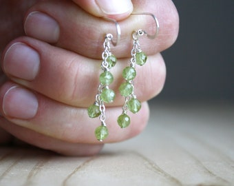 Natural Peridot Earrings in Sterling Silver for Motivation and Cleansing