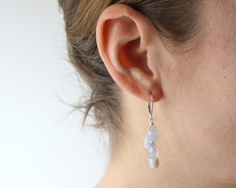 Blue Chalcedony Earrings in Sterling Silver for Harmony