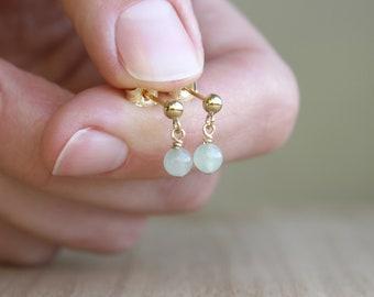 Green Aventurine Earrings Studs for Prosperity and Strength