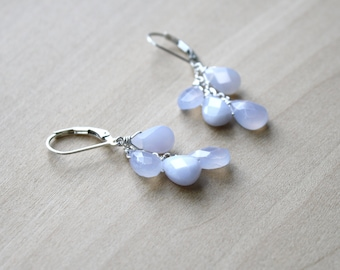 Natural Chalcedony Earrings in Sterling Silver for Harmony