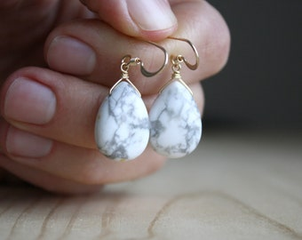 White Howlite Earrings in 14k Gold Fill for Calm and Creativity
