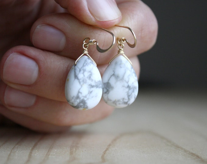Featured listing image: White Howlite Earrings in 14k Gold Fill NEW