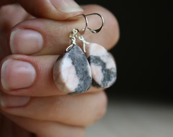 Natural Pink Marble Earrings for Mastery of Thought