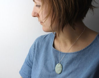 Aqua Terra Jasper Pendant Necklace . Stones for Grounding