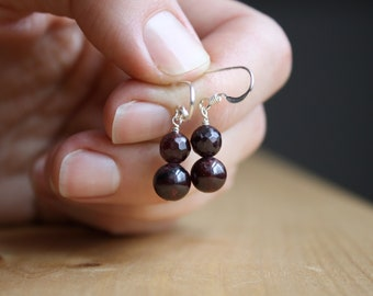Natural Garnet Earrings for Love and Courage