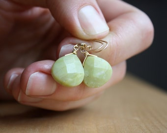 Jade Drop Earrings in 14k Gold Fill for Harmony and Good Luck NEW