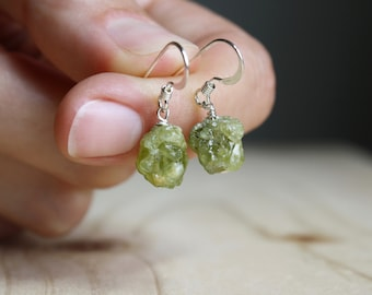 Raw Peridot Earrings in Sterling Silver for Motivation and Cleansing NEW