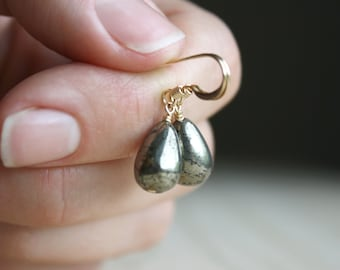 Pyrite Drop Earrings in 14k Gold Fill for Protection NEW