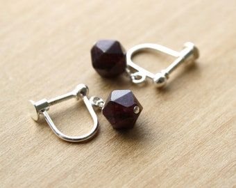 Natural Garnet Clip On Earrings for Love and Hope