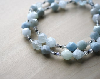 Aquamarine, Hematite, and Labradorite Necklace for Courage and Anxiety Relief