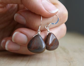 Tiger Iron Jasper Earrings . Healing Stones for Grounding and Strength
