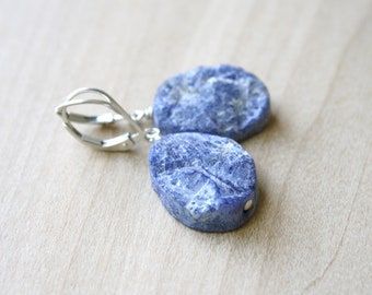 Raw Sodalite Earrings for Focusing the Mind and Remaining True to Yourself