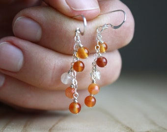 Natural Carnelian Earrings in Sterling Silver for Motivation and Concentration NEW