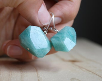 Green Amazonite Earrings in Sterling Silver for Calm and Clarity NEW