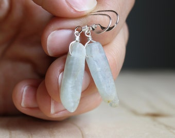 Blue Calcite Earrings for Stress Relief and Relaxation