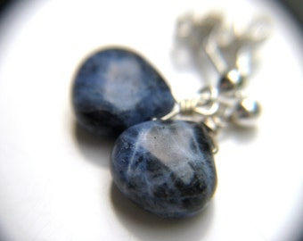Sodalite Earrings in Sterling Silver for Creativity and Intuition NEW