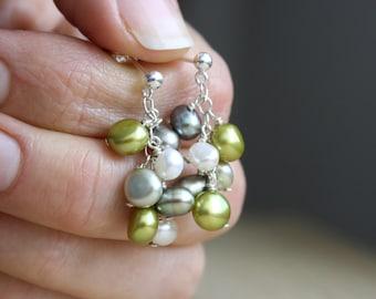Pearl Cluster Stud Earrings . June Birthstone Jewelry