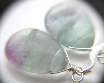 Rainbow Fluorite Crystal Earrings