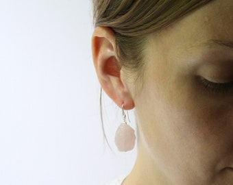 Raw Rose Quartz Earrings in Sterling Silver