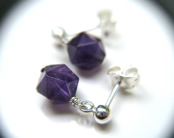 Amethyst Stud Earrings for Motivation and Protection