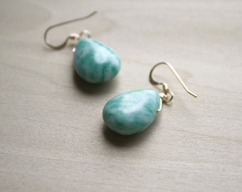 Tree Agate Earrings in 14k Gold Fill for Wealth and Abundance NEW