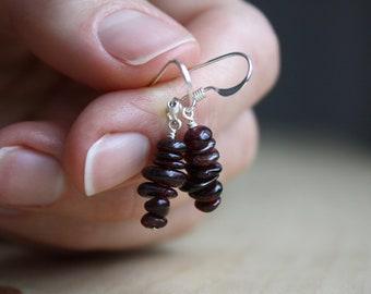 January Birthstone Jewelry . Red Garnet Earrings Silver
