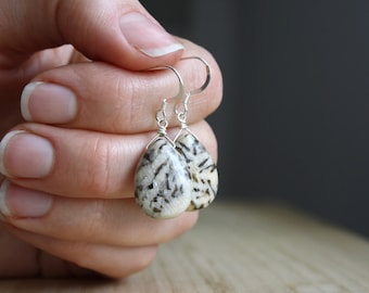 Silkworm Jasper Teardrop Earrings .