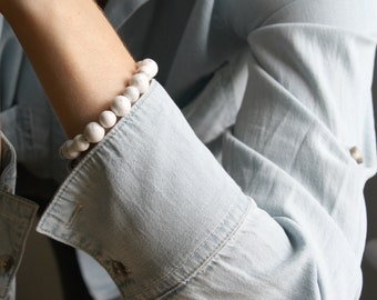 White Howlite Bracelet for Anxiety Relief