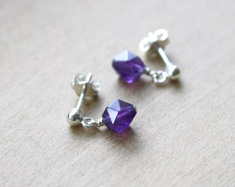 Amethyst Stud Earrings for Protection and Dissolving Negativity