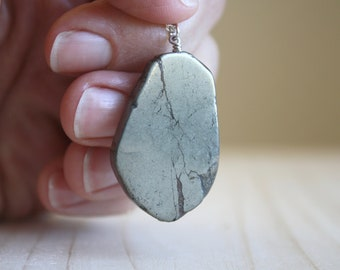 Iron Pyrite Slice Necklace for Protection and Well-Being