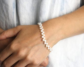 White Freshwater Pearl Bracelet . June Birthstone Jewelry