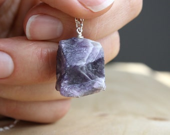 Raw Amethyst Necklace . Healing Crystal Jewelry