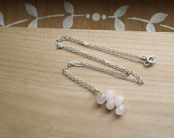 Rose Quartz Necklace in Sterling Silver . Stone of Unconditional Love