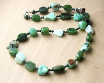 Natural Jade, Chrysoprase, and Bloodstone Necklace for Prosperity, Wealth, and Abundance
