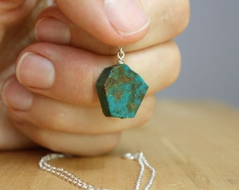 Natural Chrysocolla Necklace in Sterling Silver