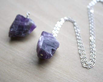Raw Amethyst Necklace for Protection and Motivation