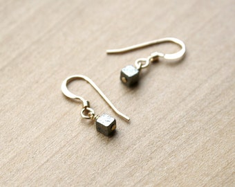 Pyrite Cube Earrings in 14k Gold Fill for Protection and Strength