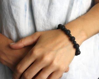 Lava Rock Diffuser Bracelet . Calming Stone Bracelet . Essential Oil Infuser Jewelry