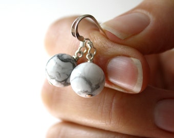 White Howlite Earrings for Calm and Creativity
