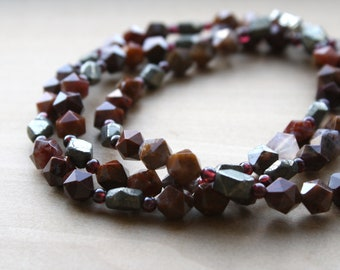 Natural Agate, Garnet, and Pyrite Necklace for Courage and Inner Power NEW
