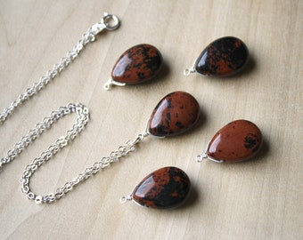 Mahogany Obsidian Necklace for Inner Strength and Protection