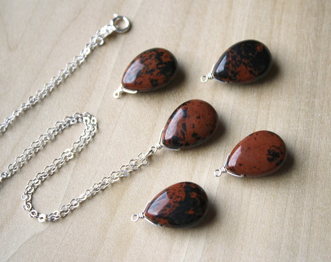 Featured listing image: Mahogany Obsidian Necklace for Inner Strength and Protection