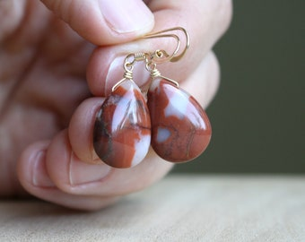 Oregon Picture Jasper Earrings for Grounding and Strength