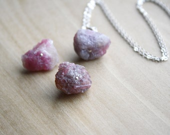Raw Pink Tourmaline Necklace in Sterling Silver for Protection and Comfort